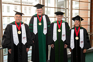 Receiving Drake Medals were Stephan Grupp, MD, PhD, a 1987 graduate of the College of Medicine; Gurjit Khurana Hershey, MD, PhD, a UC professor of pediatrics; Myles Pensak, MD, the college's senior associate dean for clinical affairs; and Marvin Slepian, MD, a 1981 College of Medicine graduate. (Courtesy of University of Cincinnati)