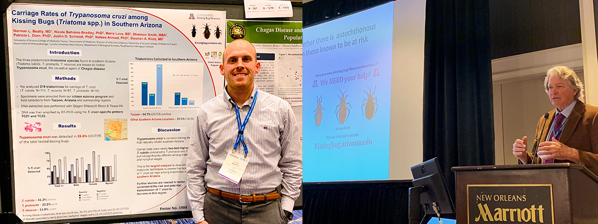 Drs. Norm Beatty and Steve Klotz present on kissing bug research done at the University of Arizona for the 2018 annual conference of the American Society of Tropical Medicine and Hygiene in New Orleans.
