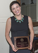 Elaine Hutchison with the J.W. Smith Award for Outstanding Medical Student
