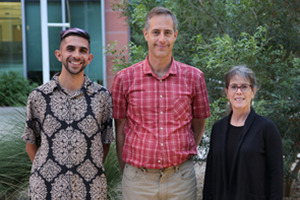 Dual MD/PhD student Alexander Alvarez, Dr. Russell Witte and Sonia Vohnout. (Photo: Eddie San Juan/Tech Launch Arizona)