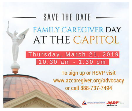 Flyer for 4th Annual Family Caregiver Day at the Capitol in Phoenix, March 21, 2019