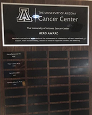 The UACC Hero Award plaque