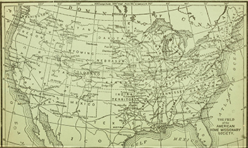 Map of railroads across continental United States (1887-88)