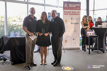 Tech Launch Arizona's Doug Hockstad, Dr. Louise Hecker and UA President Dr. Robert Robbins