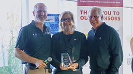 Doug Hockstad, Jennifer Barton, PhD, and UA President Robert C. Robbins. (Photo credit: Tech Launch Arizona)