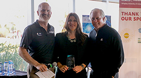 Doug Hockstad, Louise Hecker, PhD, and UA President Robert C. Robbins. (Photo credit: Tech Launch Arizona)