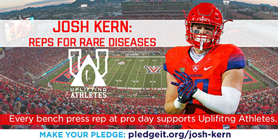 Old promotion featuring UA tight end Josh Kern for Uplifting Athletes fundraiser