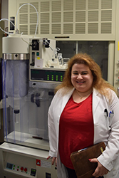 Heidi Mansour, PhD, in her lab