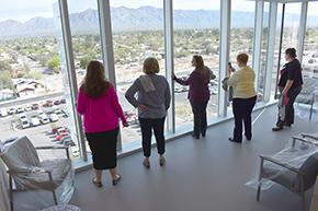 In the waterfall room on 5th floor: Katherine Sepulveda, Irene Robles, Lisa Laughlin, Linda Gonzalez and Carmine Mendoza