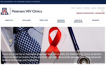 Website homepage for UA Petersen HIV Clinics