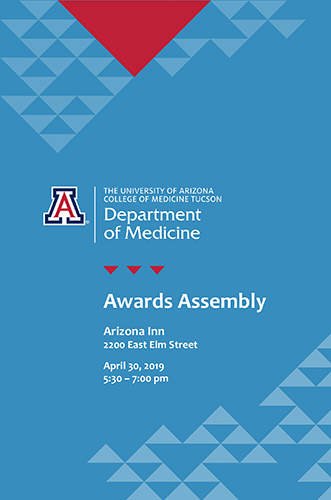 Cover of program for 2019 Medicine Awards Assembly at the University of Arizona Department of Medicine