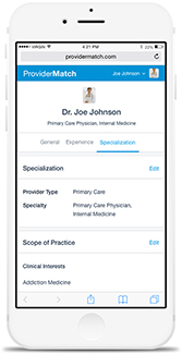 ProviderMatch mobile view