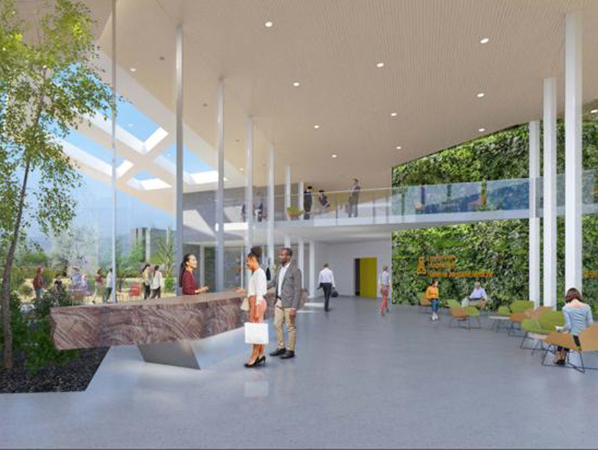 Rendering of lobby of new planned Andrew Weil Center for Integrative Medicine (AWCIM)