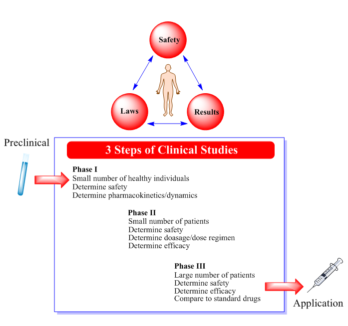 3 steps of clinical studies: phase I, phase II, phase III