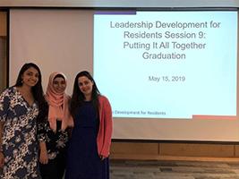 South Campus internal medicine residents Leena Danawal, MD, Sidra Raoof, MBBS, and Gianna O'Hara, DO