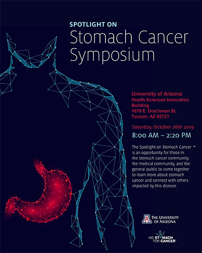 Image of program for Spotlight on Stomach Cancer Symposium, Oct. 26, at UAHS Campus in Tucson