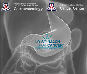 Medical imaging of stomach with logos of UA Gastroenterology, UA Cancer Center and No Stomach for Cancer