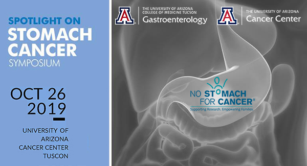 Banner image of graphic promoting Spotlight on Stomach Cancer Symposium, Oct. 26, 2019, at the University of Arizona