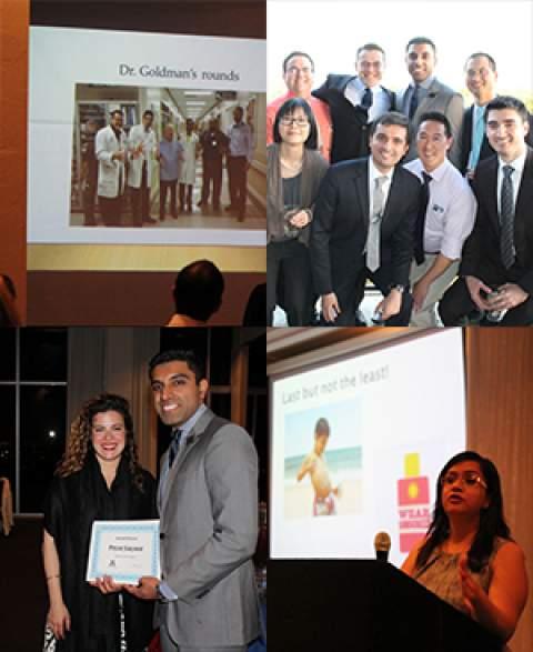 Four photos from internal medicine residents' graduation dinner