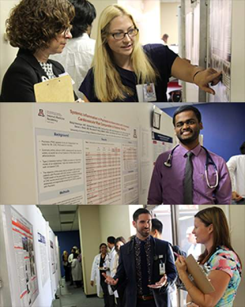 A collage of three pictures from GME Scholarly Day at the UA College of Medicine – Tucson South Campus