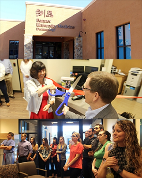 Collage from ribbon-cutting at new UA/Banner Dermatology clinical offices at Pima Canyon Drive and Skyline Road