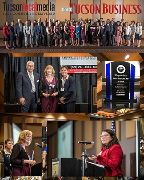 Group shot and photo collage from 2018 Influential Health and Medical Leaders Awards banquet