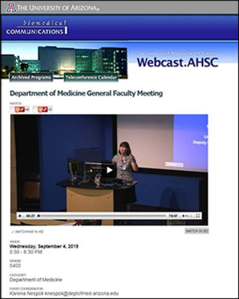 Teaser image of streaming video from DOM Fall General Faculty Meeting