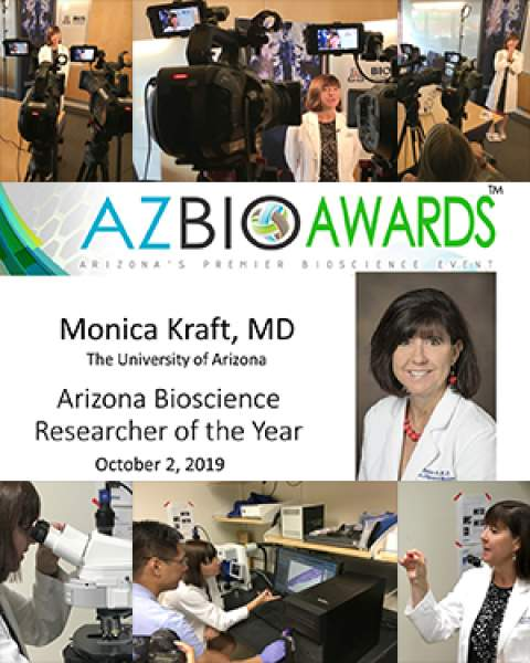 Teaser image for announcement of Dr. Monica Kraft's selection as 2019 Arizona Bioscience Researcher of the Year