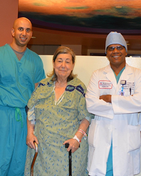 Dr. Ranjith Shetty, patient Kathleen Rothwell and Dr. Kapil Lotun
