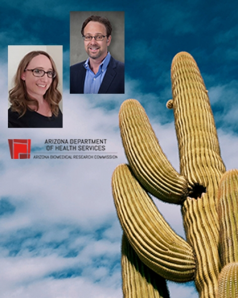Collage of ABRC logo, cactus and Drs. Rebecca Vanderpool and Ken Knox