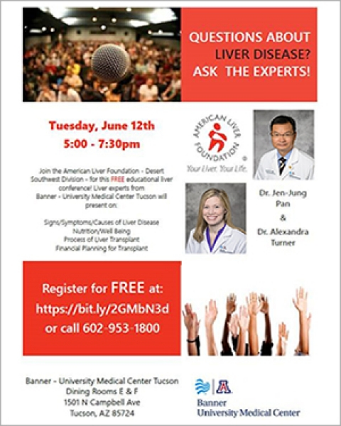 Flyer image for Ask the Expert about Liver Disease event at Banner - UMC Tucson on June 12, 2018