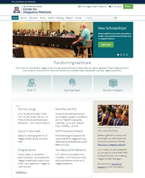 Newly redesigned UA Center for Integrative Medicine website