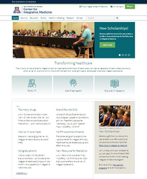 Newly redesigned UA Center for Integrative Medicine website