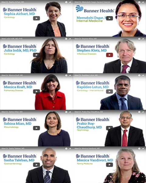 Collage of video profiles for DOM doctors on BannerHealth.com