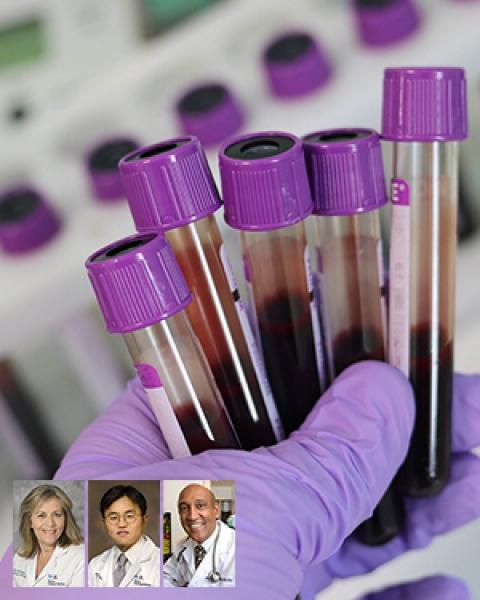 Drs. Linda Garland, Sam Kim and Daruka Mahadevan with blood vials