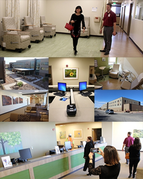 A photo collage from Drs. Monica Kraft and Tammy Ojo's Dec. 21 tour of Banner - University Medicine North