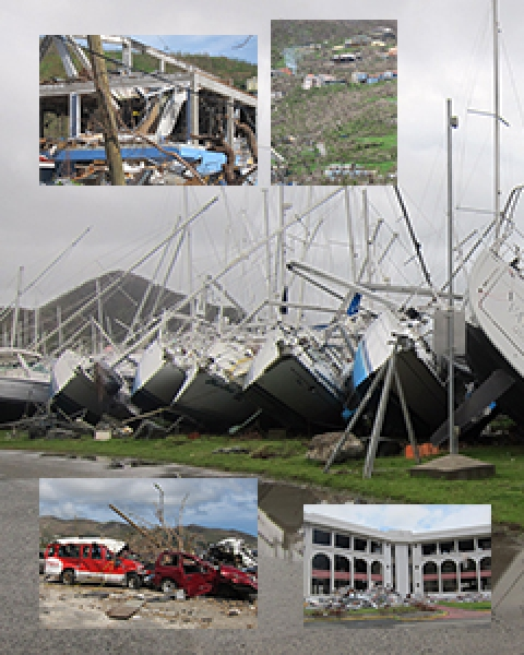 Photo collage of damage in British Virgin Islands after Hurricane Irma