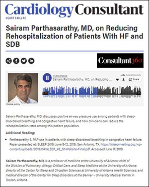 Teaser image of Consultant360.com podcast by Dr. Sairam Parthasarathy on heart failure and sleep-disordered breathing