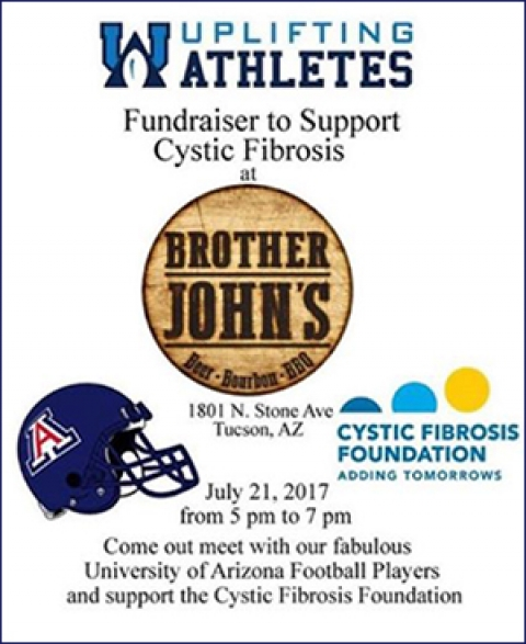 flyer for CFF fundraiser hosted by Uplifiting Athletes at Brother John's BBQ