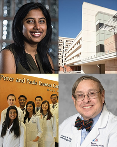 Collage with Dr. Pavani Chalasani, UA Cancer Center, Dr. Andrew Yeager and Hem-Onc fellows