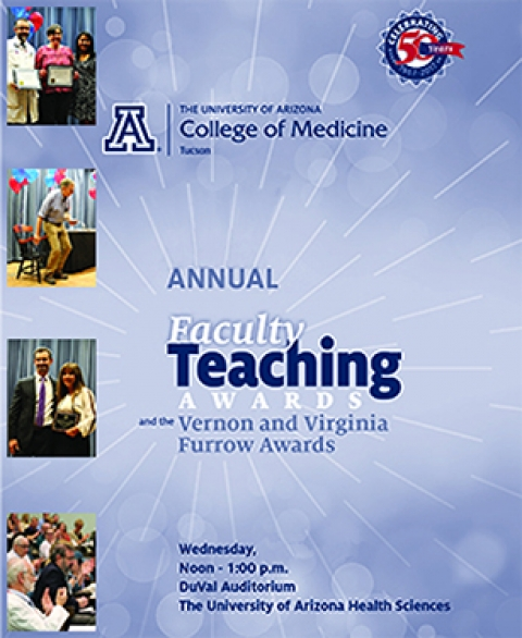 Images of DOM winners from 2017 faculty teaching awards event brochure