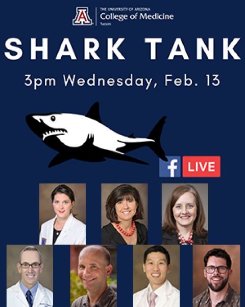 Teaser image for story on Shark Tank competition at Research Day 2019 for the UA College of Medicine – Tucson