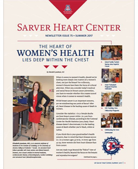 Cover of summer issue of UA Sarver Heart Center Newsletter