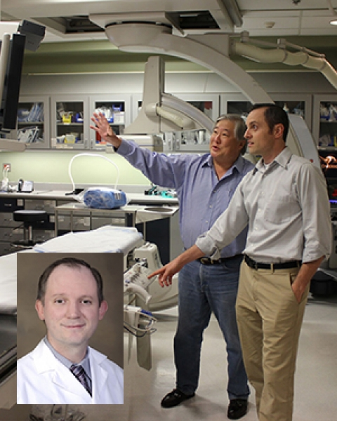 Nicholas Lim and Dr. Michael Larson in D3S lab (inset, Dr. Charles Hennemeyer)