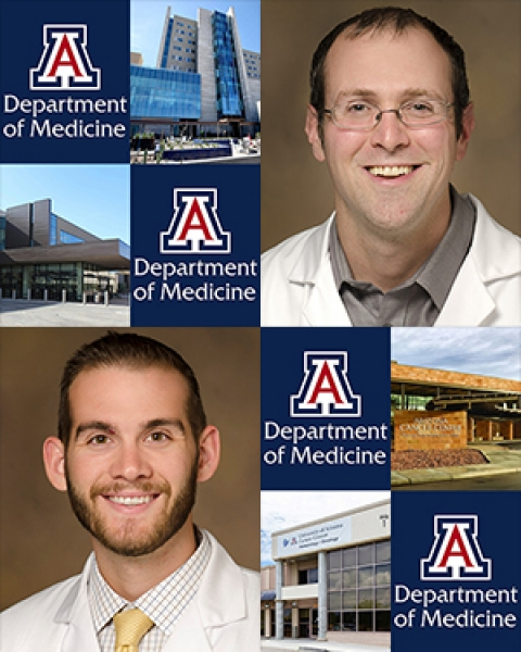 Drs. Kevin T. Breen and John M. Dicken with images of Banner - UMC Tucson, Banner - University Medicine North, and the UA Cancer Center North and Orange Grove campuses