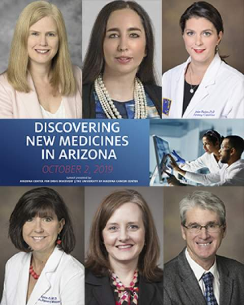 Teaser image of UA Department of Medicine faculty participating in Discovering New Medicines in Arizona Summit (clockwise from top left): Drs. Julie Bauman, Jennifer Carew, Louise Hecker, Larry Mandarino, Julie Ledford and Monica Kraft