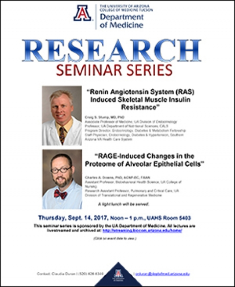 Image of flyer for DOM Research Seminar Series lecture on 9/14/2017
