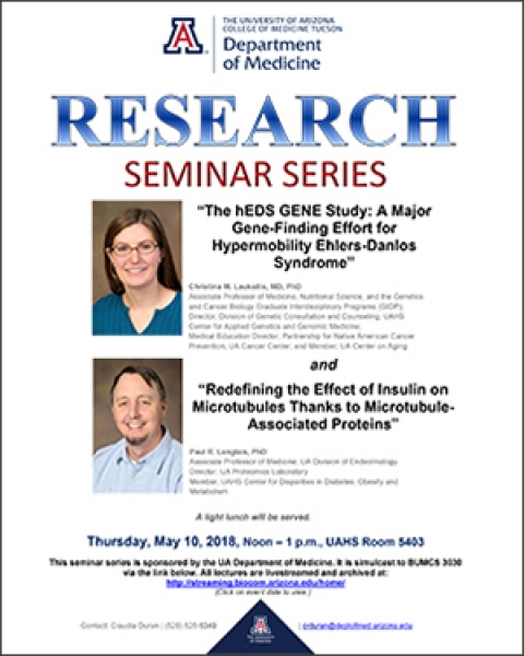 Flyer for May 10 DOM Research Seminar with Drs. Christina Laukaitis and Paul Langlais