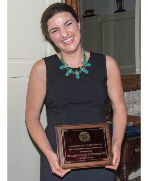 Elaine Hutchison, MS4, wins J.W. Smith Award for Outstanding Medical Student