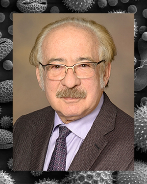 Dr. Eugene Bleecker's image on a microscopic field of pollen